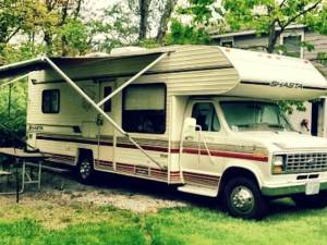Motorhome with its awning out parked at Paradise Resort at old Orchard Beach on site #52 for the first time.
