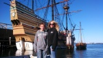 Marcus and Tami in front of the Mayflower in Plymouth, MA