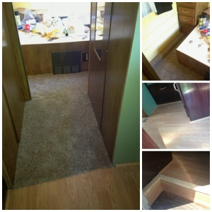 The large picture shows the finished product.  The upper right photo shows the carpet around the bed.  The middle and botom right photo shows the great look of hardwood