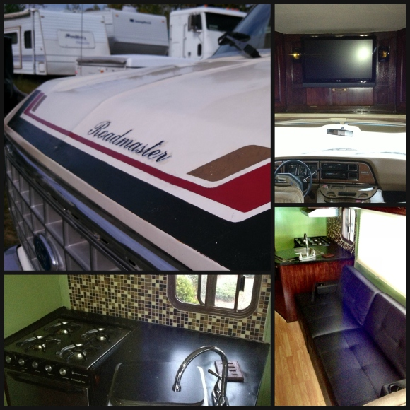 The Roadmaster sticker on the hood was remade, the flat screen with stereo and subwoofer added, to the couch and kitchen completely redone.
